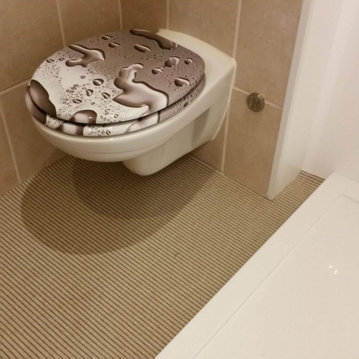 badkamer tapijt beige toilet