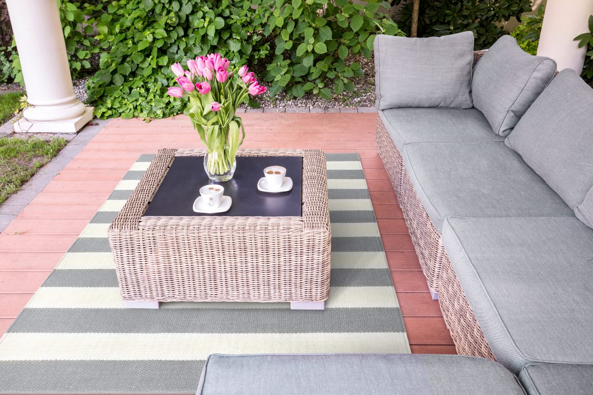 Luxe buitenkleed grijs/wit gestreept terras