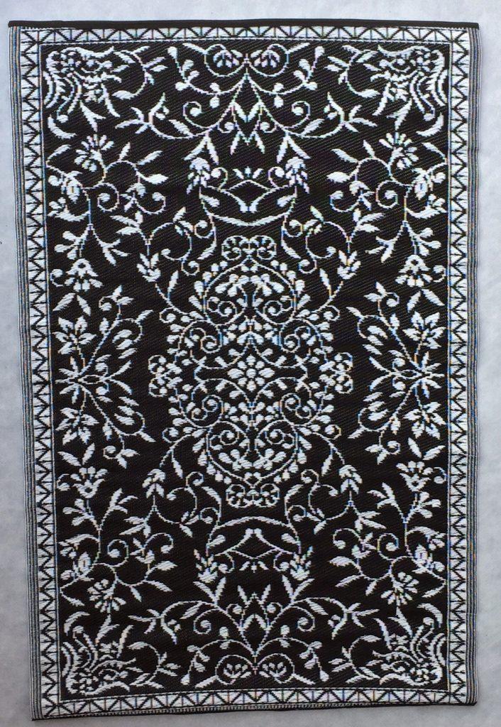 Buitenkleed kunststof India zwart
