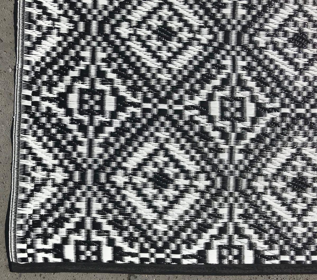Buitenkleed kunststof loper oosters 2 zwart detail