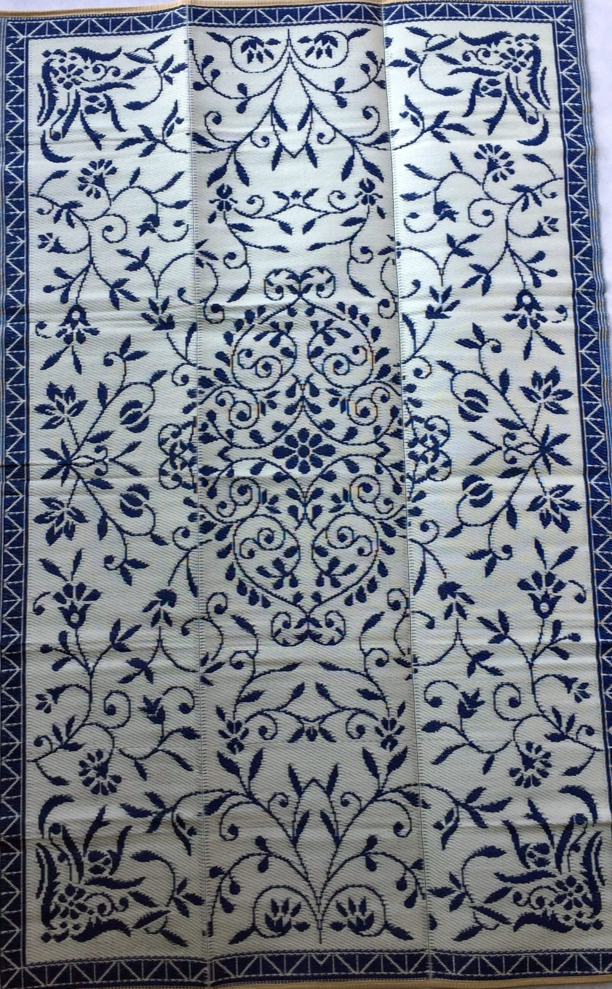 Buitenkleed kunststof India donkerblauw