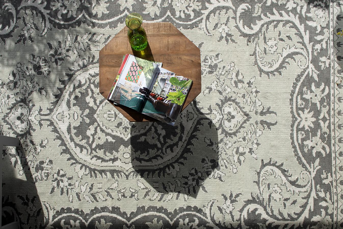 sfeer wit tapijt boven - Groot buitenkleed