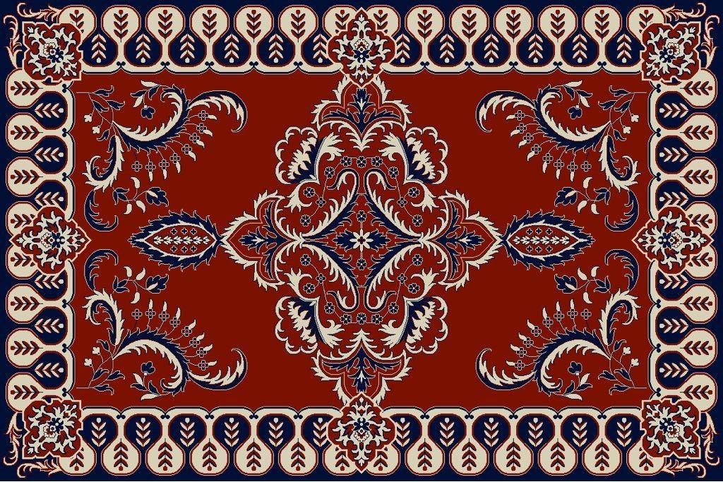 Privat label roodblauwbeige 2 - Showroom model - Luxe Buitenkleed Barok - 200 x 300cm
